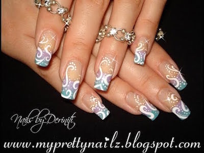 Pretty Pastel Ombre French Tips With Hand Drawn Swirl Pattern