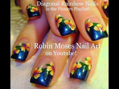 Tropical Rainbow Flower Nail Design Amazingnailart