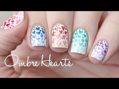 Ombre Hearts Nail Art Tutorial Amazingnailart