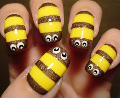 Diy bumblebee nail art cute amazingnailart prinsesfo Image collections
