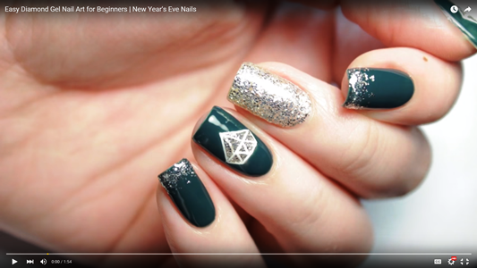 Easy Diamond Gel Nail Art for Beginners | New Year\'s Eve Nails ...