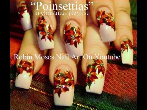 Red Poinsettias For Long White French Tip Nails Amazingnailart Org