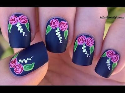 Rose nail art tutorial using acrylic paint amazingnailart matte nails with rose design over dark blue base in todays nail art video i share a dark blue matte floral nail art with roses using acrylic paint prinsesfo Gallery