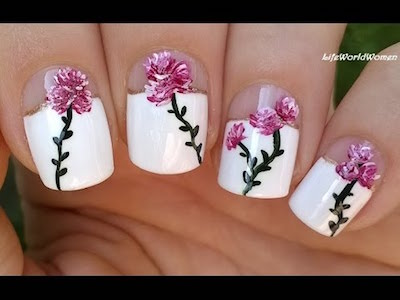 Elegant Floral Nail Art Over Wide French Manicure Amazingnailart