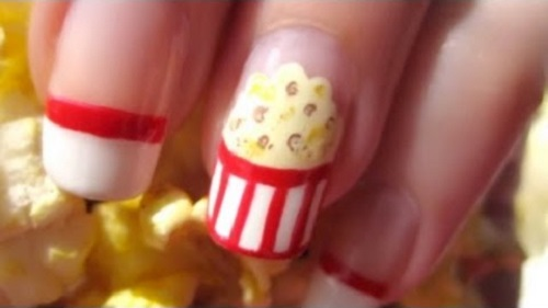 Movie Night Popcorn Nail Art