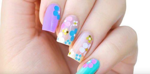 Pastel Spring Floral Confetti Nail Art + Encapsulated Glitter WITHOUT Gel