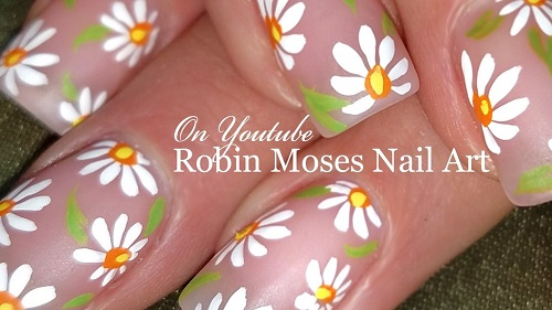 DIY Easy White Daisy Nails