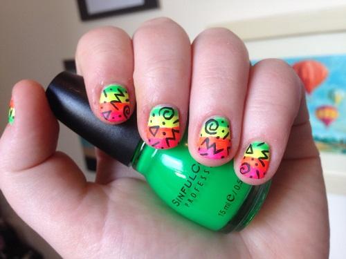 Matte Neon 90's Nails