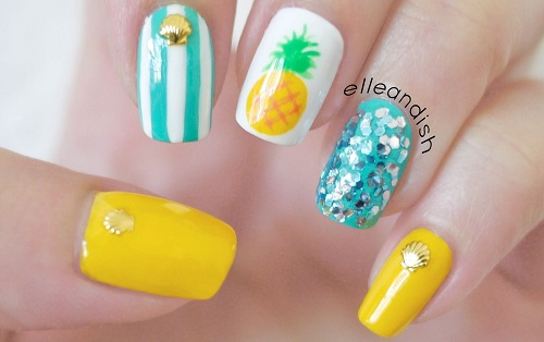 Easy Summer Pineapple Nails