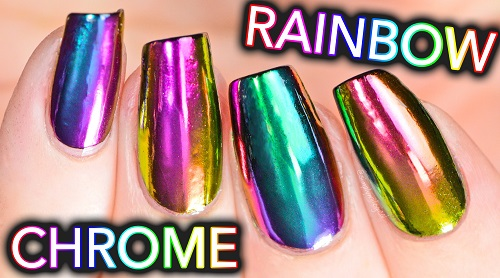 DIY Rainbow Chrome Nails