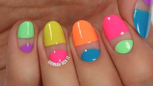 Easy Neon Negative Space Nail Art