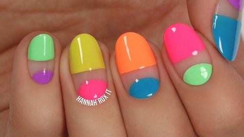 Easy Neon Negative Space Nail Art