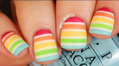 Pride Rainbow Stripe Nail Art Tutorial