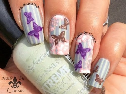 Retro Butterfly Stamping Nail Art