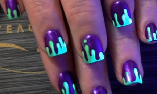 DIY Dripping Neon Green Slime Nail Art