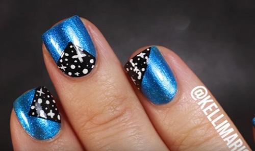 Galaxy Patch Nail Art Design