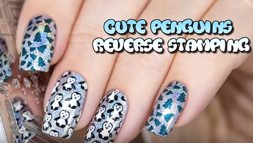 Cute Penguins Reverse Stamping
