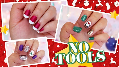 3 Easy NO TOOLS Christmas Nail Art
