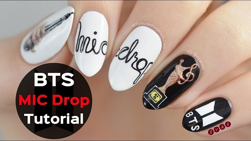 BTS MIC Drop Nail Art