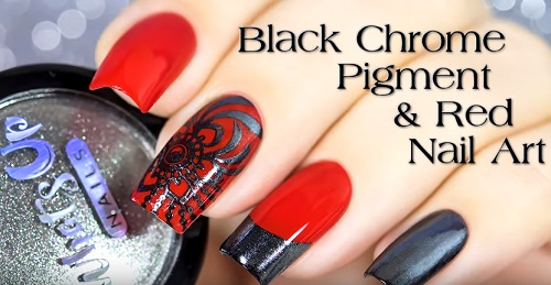 Black Chrome Nails & Stamping Nail Art