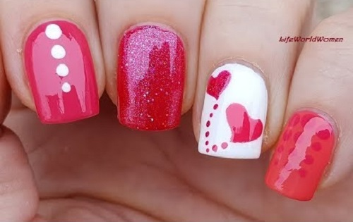 Pink & White VALENTINE'S DAY NAIL ART Using Dotting Tool & Sticker