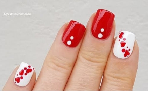 Red & White Dotting Tool Nail Art