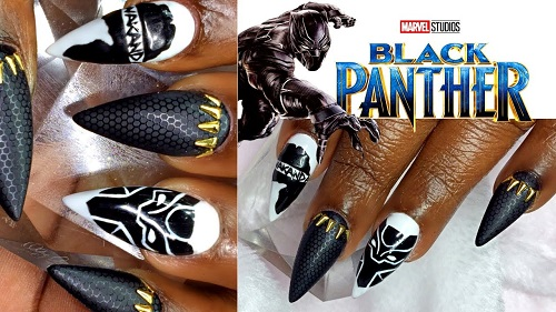 This design is with stamping nail art, hand painted nail art designs and  some gold details. Enjoy! - Black Panther Inspired Nail Art AmazingNailArt.org