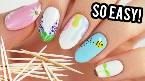 Nail Art For Beginners Using A Toothpick Spring Edition