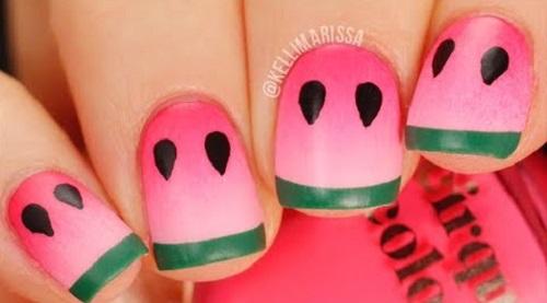 Cute Summer Watermelon Nail Art | AmazingNailArt.org