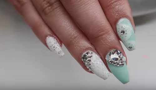 Mint And Lace Nail Art Amazingnailart
