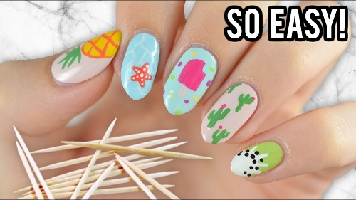 Nail Art For Beginners Using A Toothpick Summer Edition Amazingnailart Org