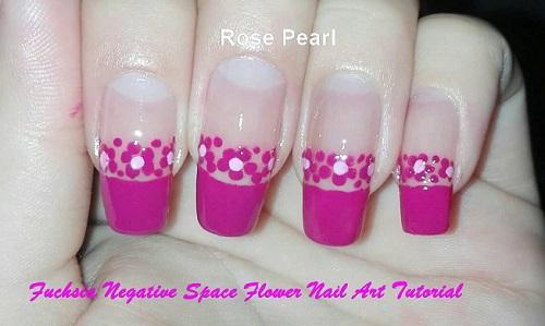 DIY Fuchsia Negative Space Flower Nail Art | AmazingNailArt org